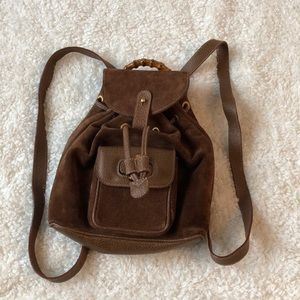 Vintage Gucci Brown Suede Bamboo Backpack